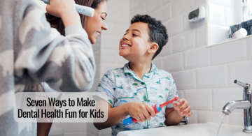 image of a mother showing her son how to brush his teeth